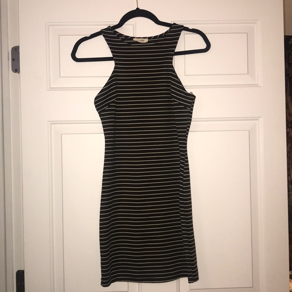 Dresses & Skirts - Boutique Black and Beige Striped Bodycon Dress